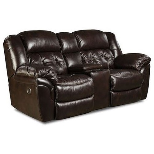 Homestretch Cheyenne Casual Reclining Console Loveseat With Cup Holders Standard Furniture