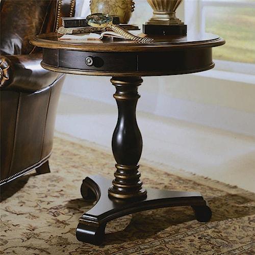 hooker furniture preston ridge round pedestal accent table wayside furniture end table. Black Bedroom Furniture Sets. Home Design Ideas
