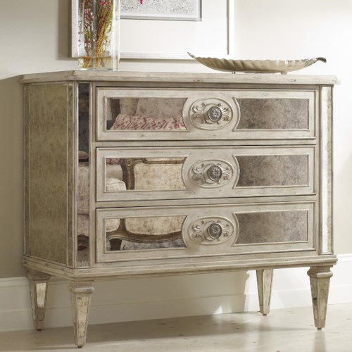 Hooker Furniture Living Room Accents 3 Drawer Antique Mirrored Chest Design Interiors Chest