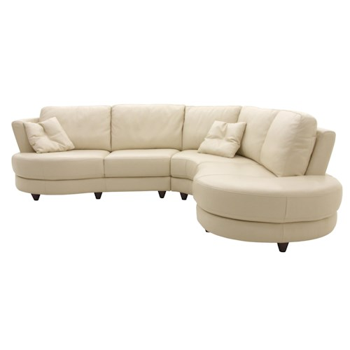 Htl 2177 2 piece round leather sectional fashion for Htl sectional leather sofa