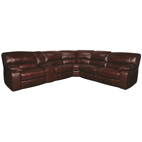 Xavier 6 Piece Power Leather Match Reclining Sectional