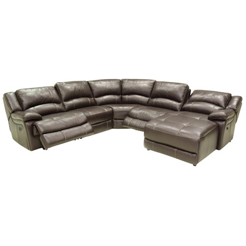 Htl t118cs reclining sectional sofa with right side chaise for Sectional sofa with right side chaise