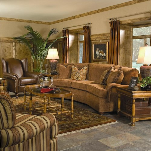 Huntington house 2061 conversation sofa with curved arms for Living room conversations