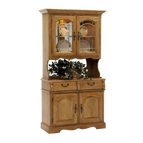 Intercon classic oak 42 china hutch with two half drawers for Classic house furniture galleries