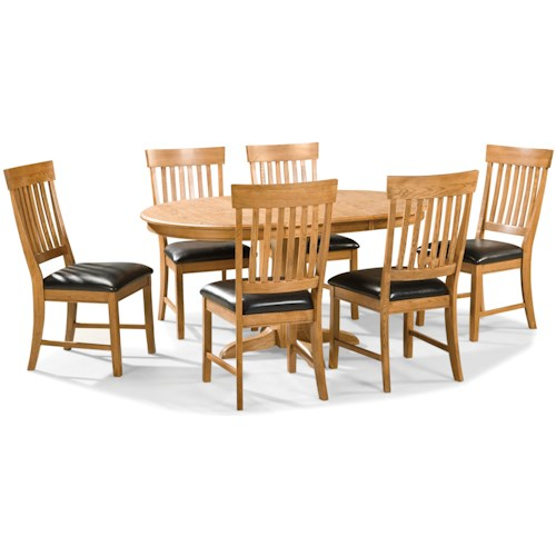 Intercon family dining 7 piece dining set with slat back for Best dining tables for families
