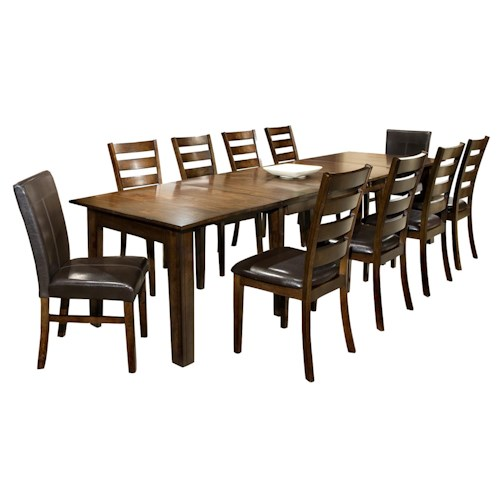 Intercon kona 11 piece dining set with table and chairs for 11 piece dining table set