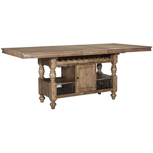 Intercon Lake House Counter Height Gathering Island Table with Storage ...