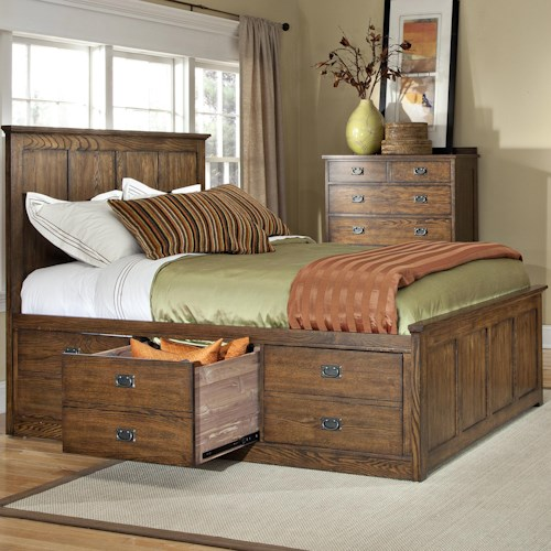 Intercon oak park mission queen bed with six underbed storage drawers boulevard home Queen bedroom sets with underbed storage