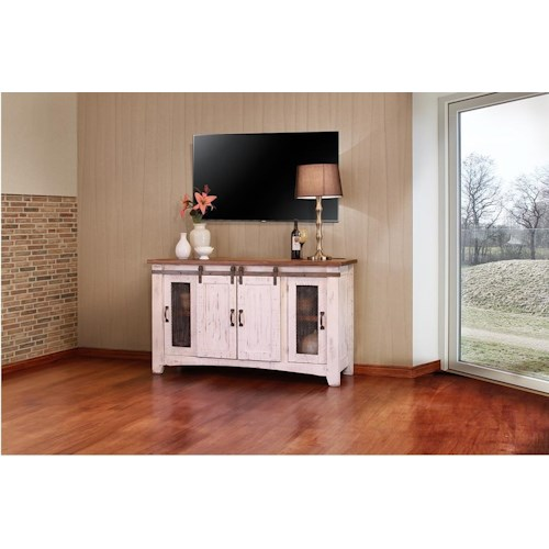 International furniture direct pueblo 60 white tv console for American furniture warehouse tv stands