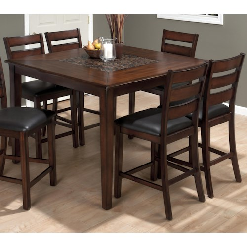 Jofran baroque brown 5 piece counter height dining set for Baroque dining table set