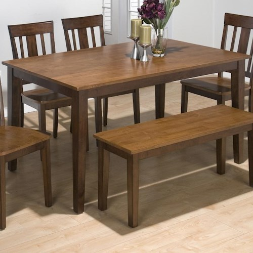 Kura Espresso And Canyon Gold Two Tone Solid Rubberwood Rectangular Table With Sabre Legs