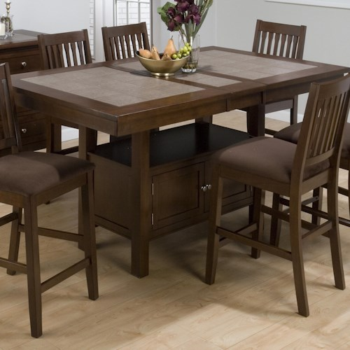 Counter Height Gathering Table With Storage : ... Room Furniture Pub Table Jofran Caleb Brown Counter Height Table