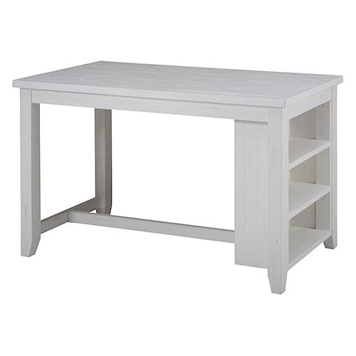 Jofran Madaket Reclaimed Pine Counter Height Table With 3 Shelf Storage Pil