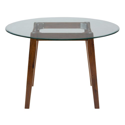Jofran plantation 48 round dining height table with glass for Dining room tables 48 round