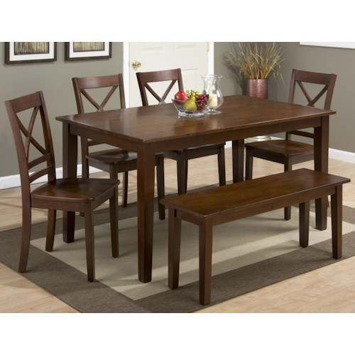 dining table and x back chair set with bench pilgrim furnitur