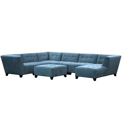Jonathan Louis Belaire Contemporary Sectional With Tapered