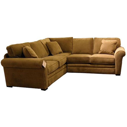 Jonathan Louis Choices Orion 2 Piece Sectional Sofa With Rolled Arms Olinde 39 S Furniture