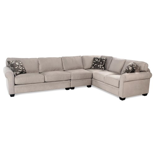 Galaxy 3 Piece Sectional W Roll Arm Rotmans Sofa