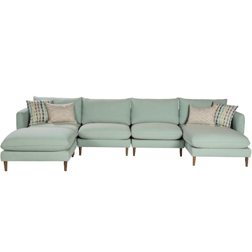 Jonathan Louis Melbourne Contemporary Sectional With Tapered Legs And Throw Pillows Bennett 39 S