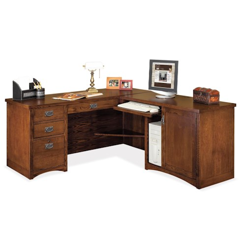 Kathy ireland home by martin mission pasadena mission l shaped computer ready executive desk - Martin home office furniture ...