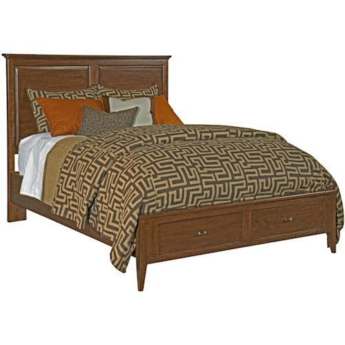 Kincaid Furniture Cherry Park Queen Size Bed With Panel Headboard Two Drawer Storage Footboard