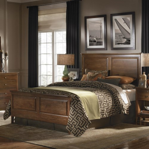 Kincaid Furniture Cherry Park Queen Panel Headboard Footboard Bed Becker Furniture World