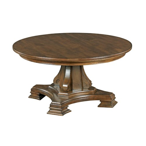 Kincaid Furniture Portolone 95 027p Round Pedestal Cocktail Table Johnny Janosik Cocktail