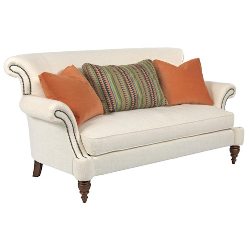 Kincaid furniture windsor traditional settee with rolled for Traditional sofas with legs