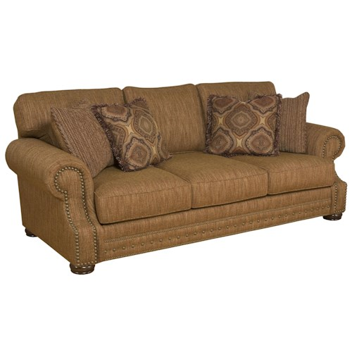 King Hickory Edward Stationary Sofa With Rolled Arms Zak