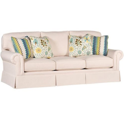 King Hickory Winston Transitional Sofa With Rolled Arms