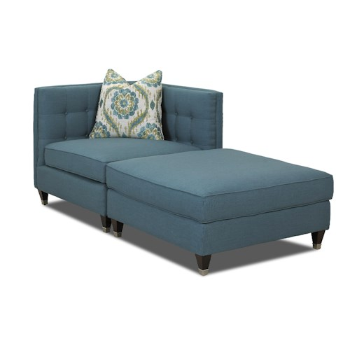 Klaussner celeste two piece sectional sofa with tufting for 2 arm pressback chaise