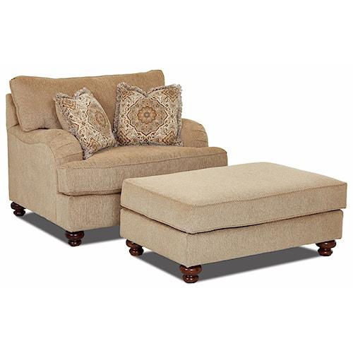 klaussner declan oversized chair and ottoman set pilgrim. Black Bedroom Furniture Sets. Home Design Ideas