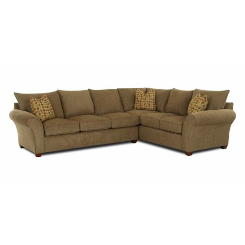 Klaussner Fletcher Transitional 2 Piece Sectional Sofa Wayside Furniture Sofa Sectional