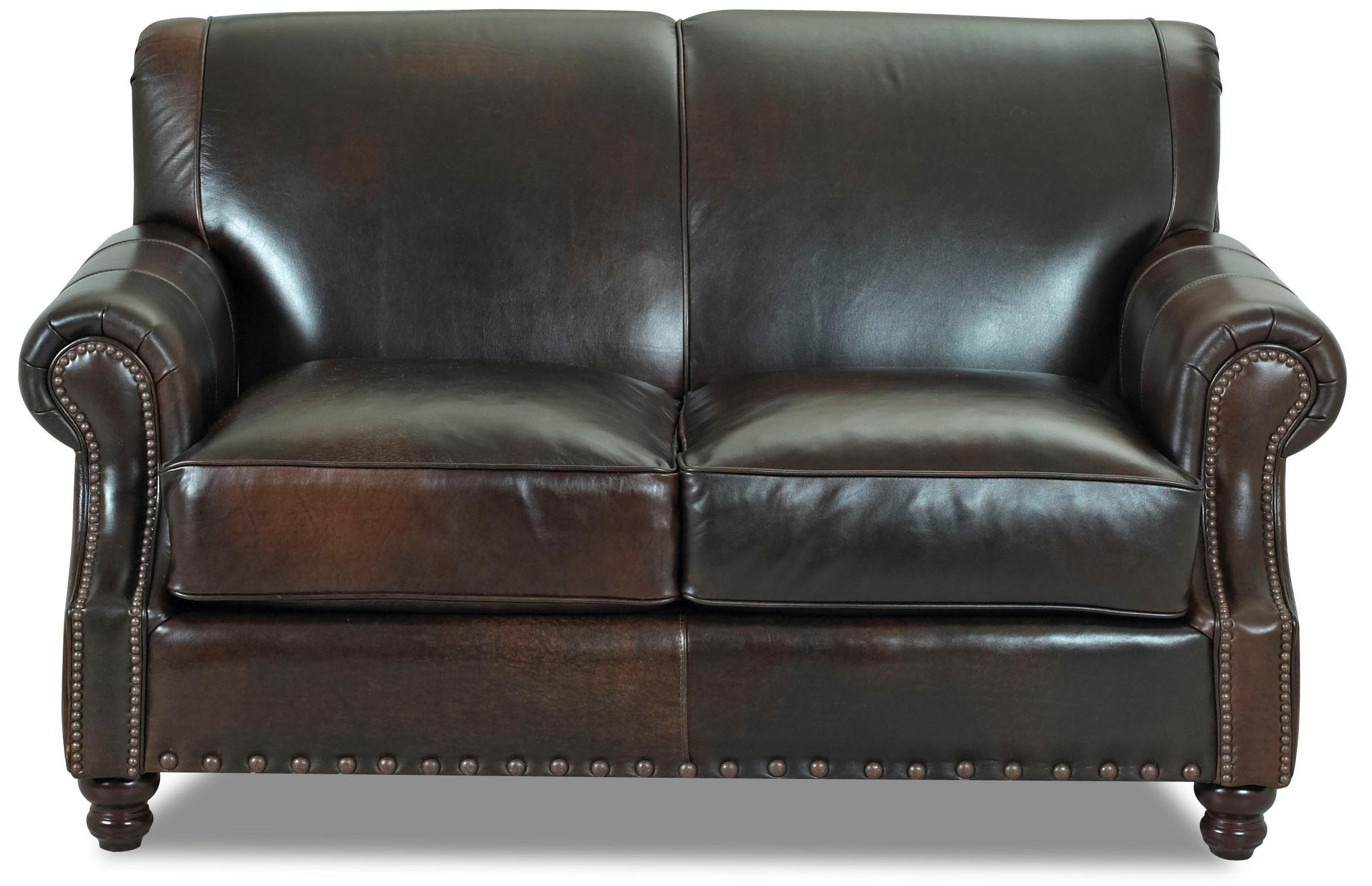 Klaussner Fremont Traditional Leather Loveseat with Nail