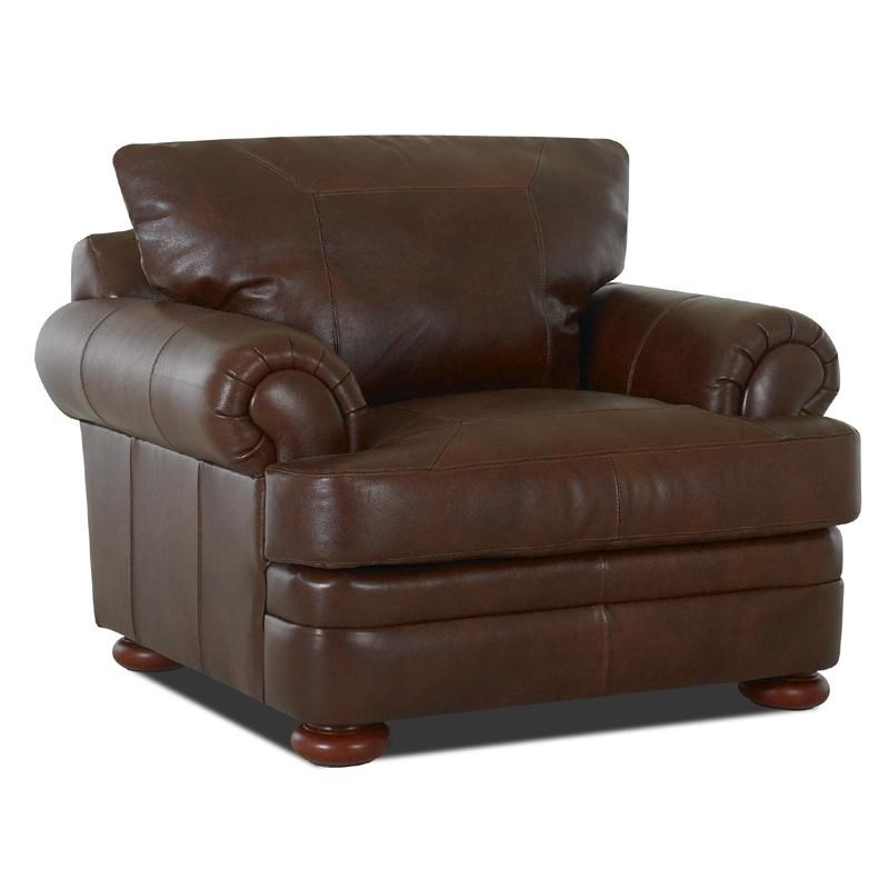 Klaussner Montezuma Leather Chair with Rolled Arms - Dunk ...