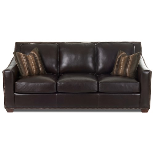 klaussner owen leather sofa with nailhead border and