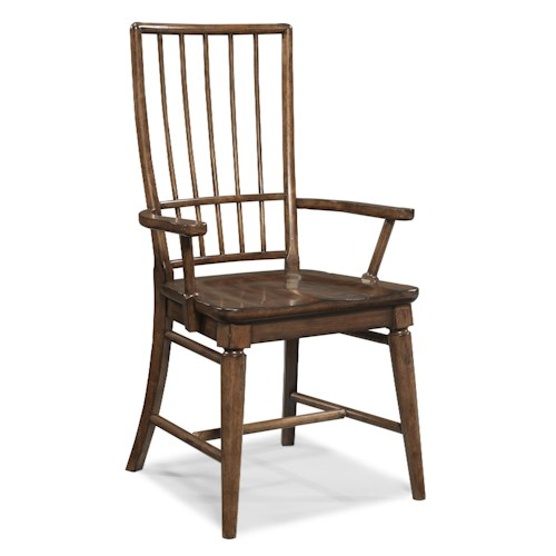 Easton collection blue ridge cherry rake back arm chair for Dining room tables easton