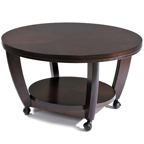 Klaussner International Hayden Round Cocktail Table With Casters Pilgrim Furniture City