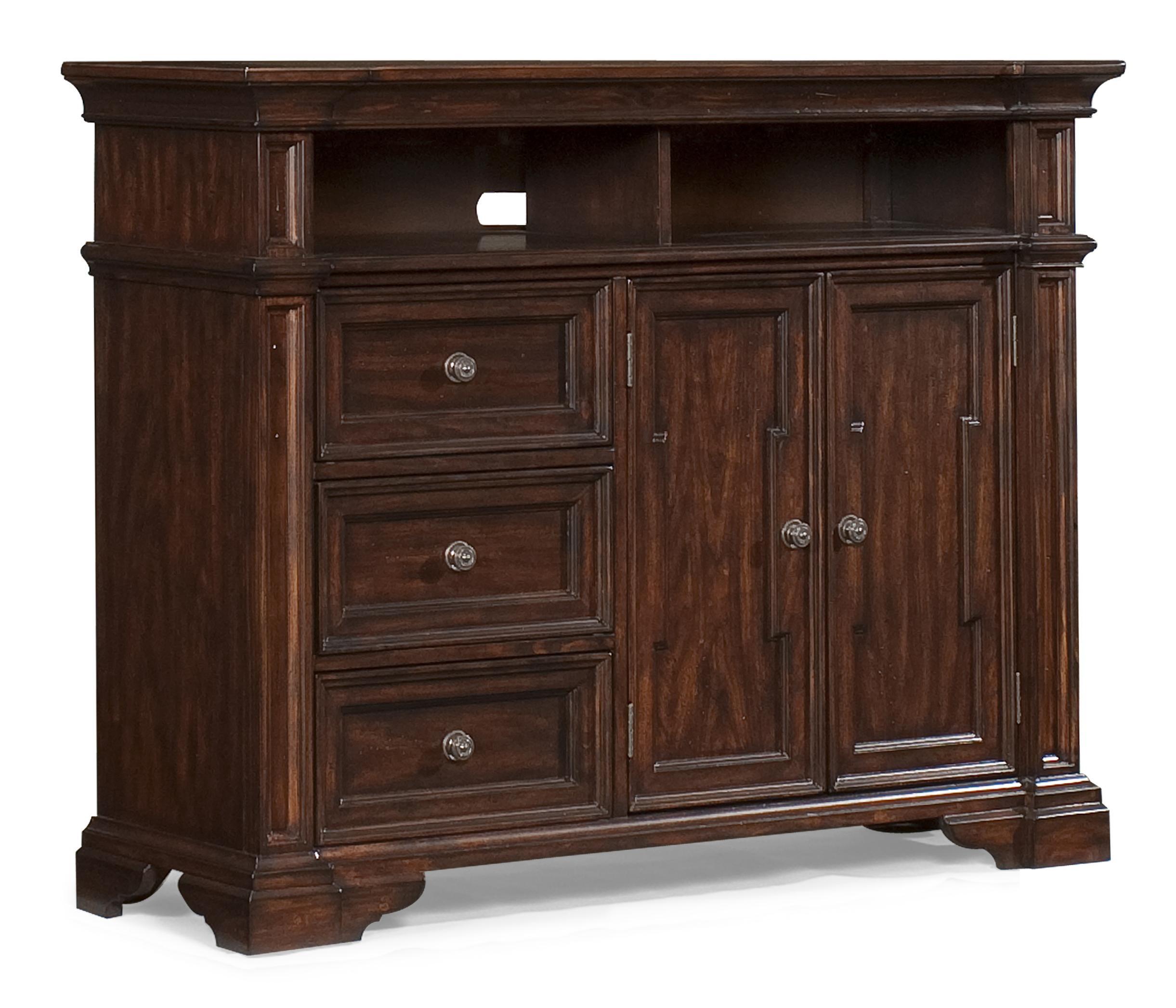 Klaussner International San Marcos Media Chest with Open Compartments, Drawers and Doors - Ivan ...