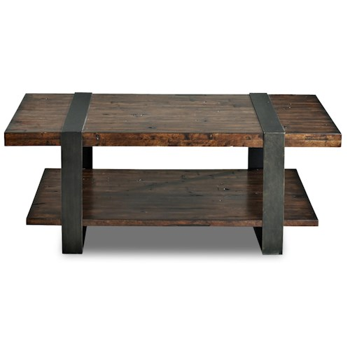 Klaussner International Timber Forge Rustic Cocktail Table With Thick Metal Legs Pilgrim