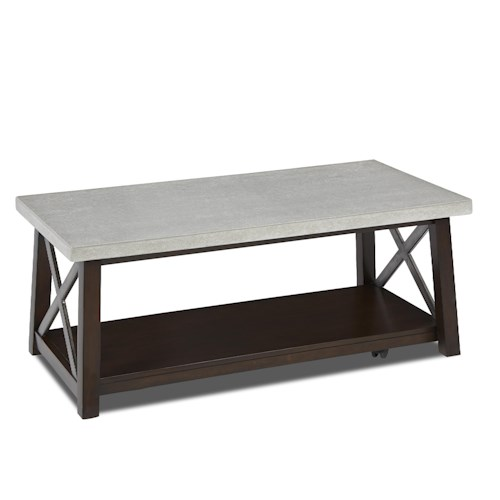 Klaussner International Viewpoint Cocktail Table With Concrete Top And X Design Motif Darvin
