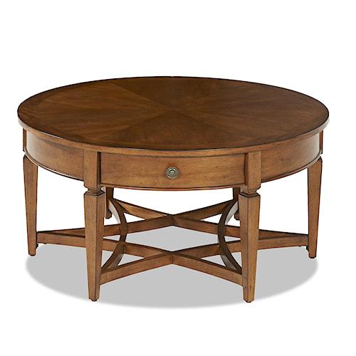 Klaussner International Wentworth Round Cocktail Table With 1 Drawer Turk Furniture Cocktail
