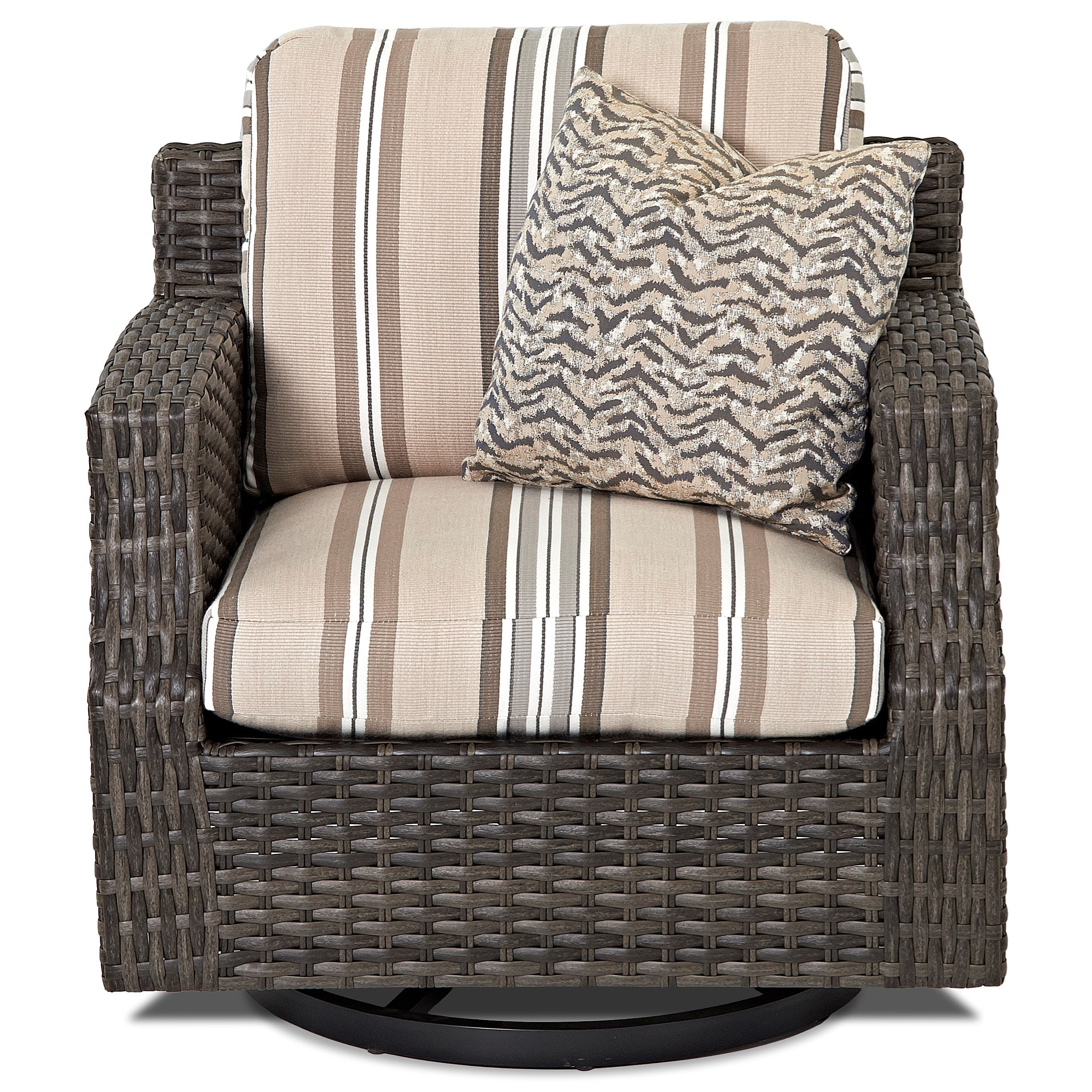 Klaussner Outdoor Cascade Outdoor Swivel Glider Chair with Track Arms Pilgr