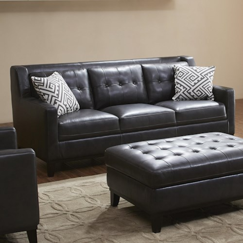 Kuka home devon sofa with button tufted back cushions for Furniture 0 down
