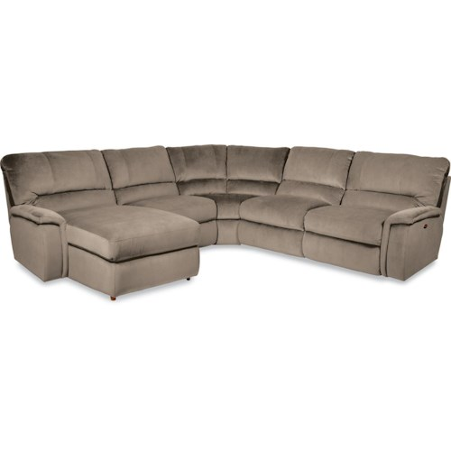 La z boy aspen five piece reclining sectional sofa with for 750 sofa chaise