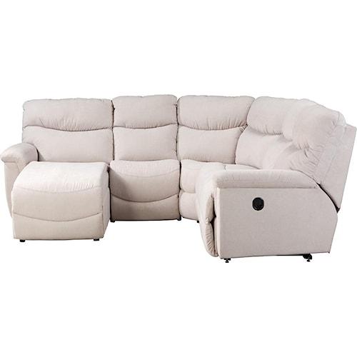 La z boy james four piece reclining sectional sofa with for 4 piece sectional sofa with chaise