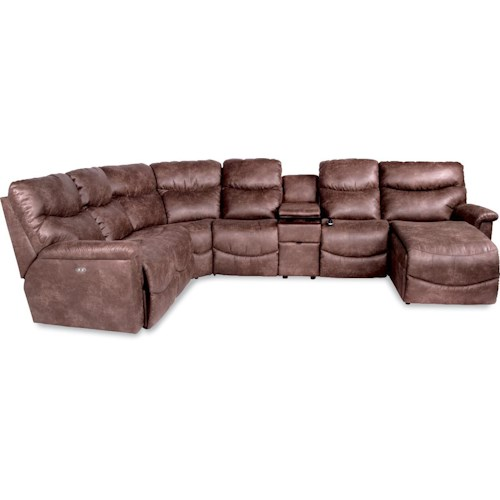 La z boy james six piece power reclining sectional with for Lazy boy sectional sofa with chaise