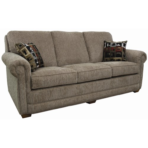 Lancer 80 sofa with rolled arms and tapered wood feet for 80s furniture