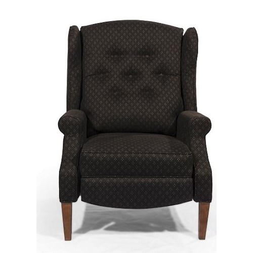 Lancer homespun push back recliner with tufted wing back for Wing back recliner chair