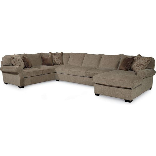 Lane jonah casual 3 piece sectional sofa with blend down for Furniture 0 down